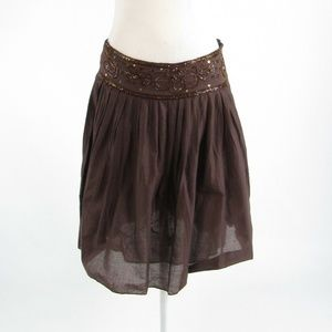 Brown LOB beaded trim sheer A-line skirt 1 Small